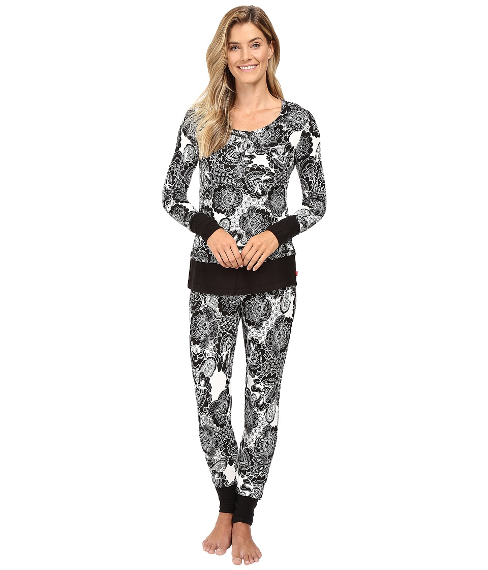Josie - Fireside Henley PJ (Black/White) Women's Pajama Sets