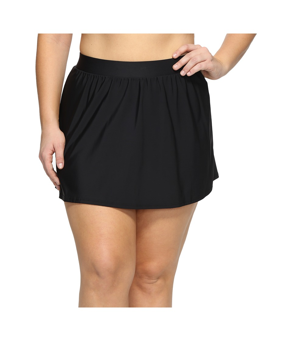 Miraclesuit Plus Size Solid Swim Skirt Bottom (Black) Women