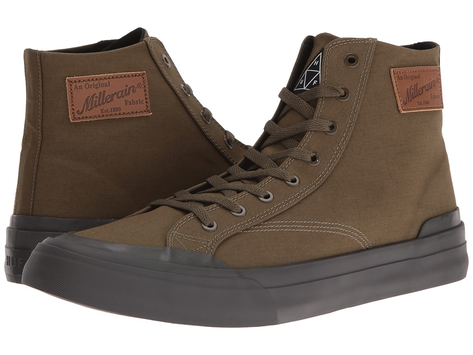 HUF - Classic Hi X British Millerain (WP Olive) Men's Skate Shoes
