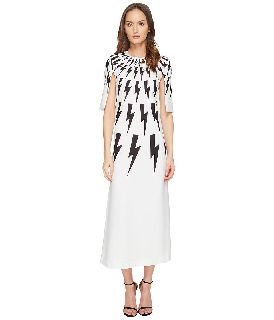 Neil Barrett - Degrade' Fair Isle Thunderbolt Light Poly (White) Women's Clothing