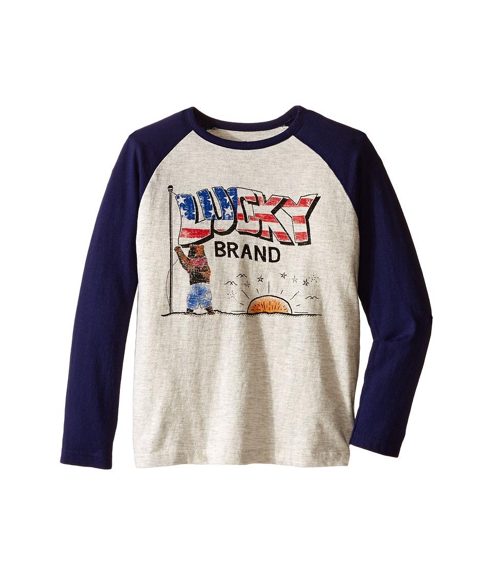 Lucky Brand Kids - Long Sleeve Raglan Tee with Lucky Bear and Flag Screen Print (Little Kids/Big Kids) (Turtle Heather) Boy's T Shirt