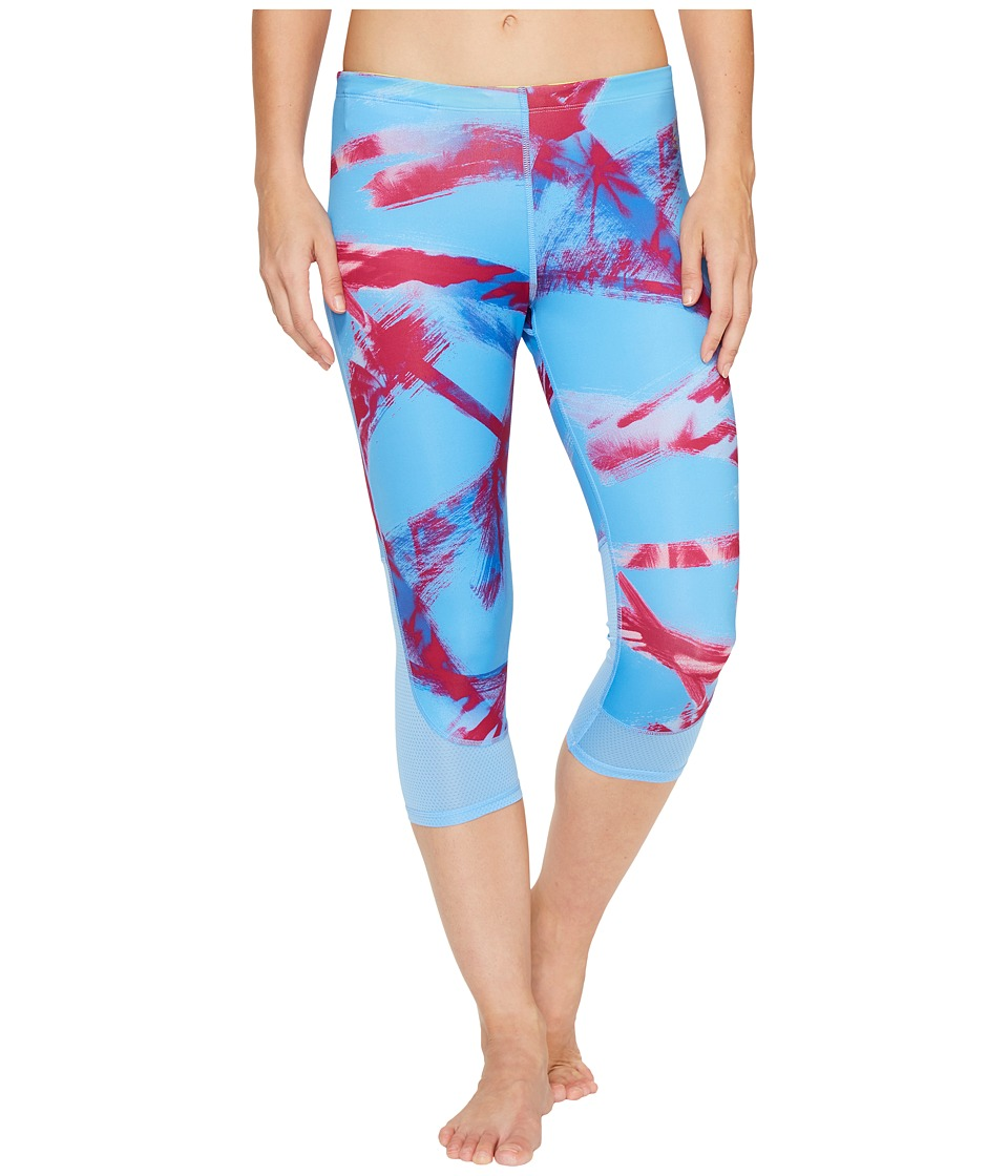 Reebok Running Essentials Capri Tights Print B (Sky Blue) Women