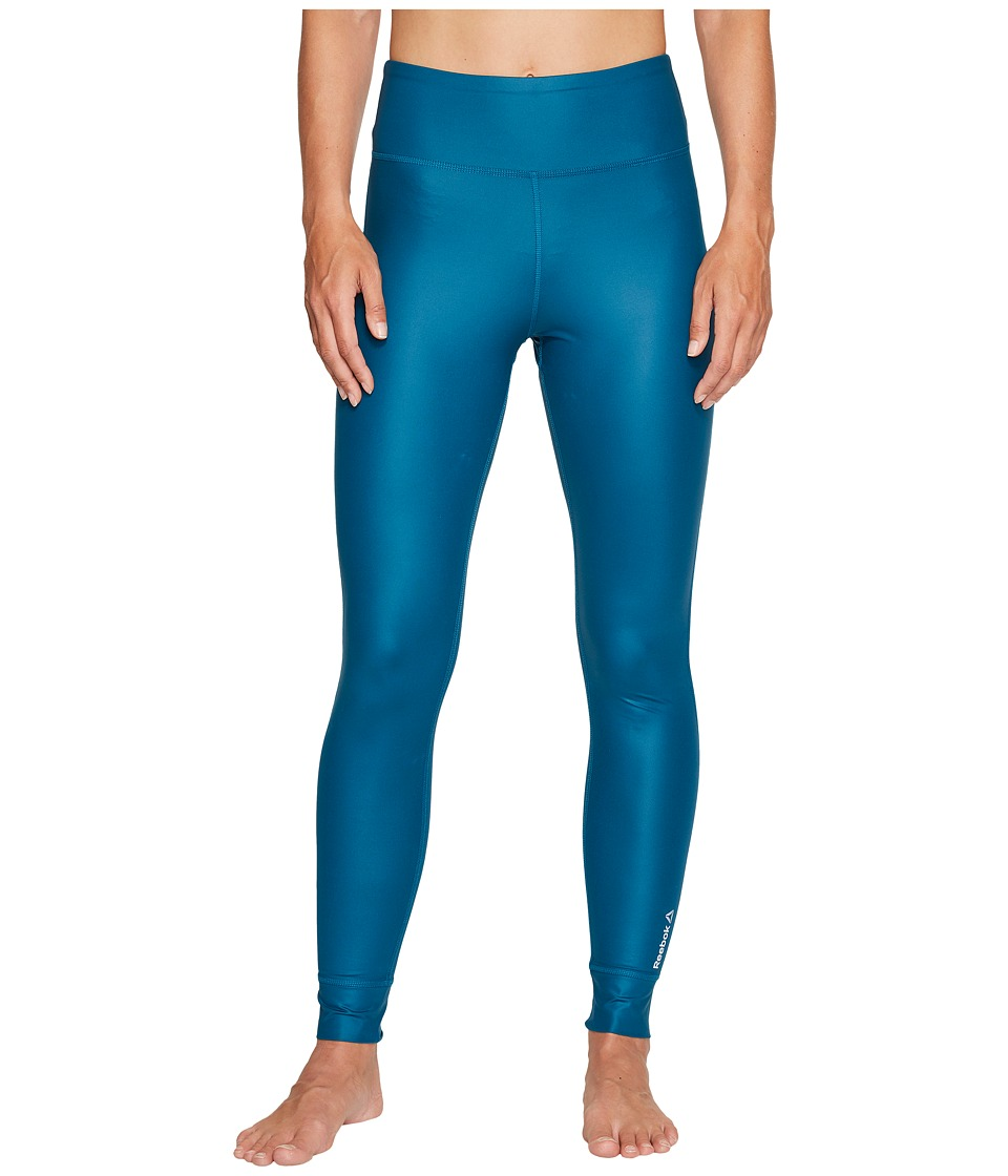 Reebok - Studio Lux High Shine Tights (Emerald Tide) Women's Workout