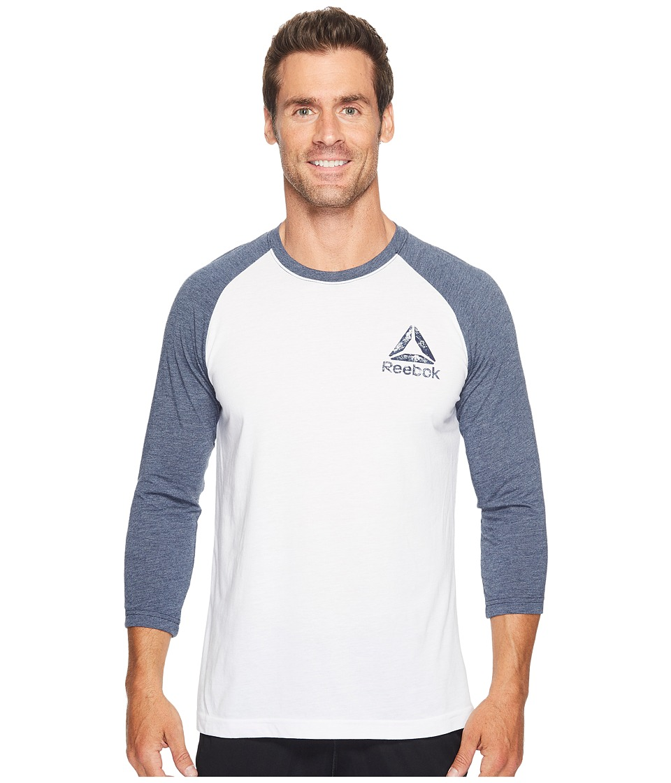 Reebok - Delta Baseball Tee (White/Collegiate Navy) Men's T Shirt