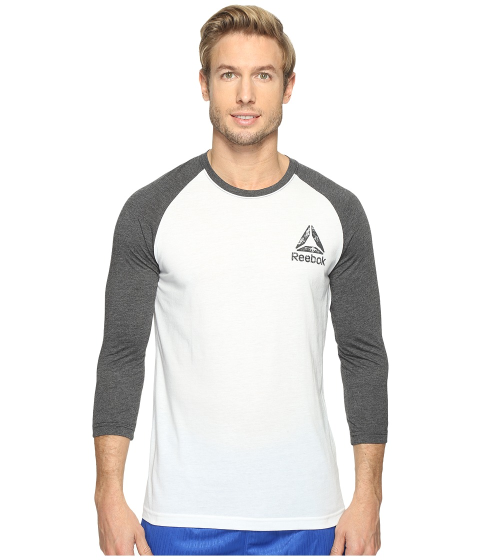 Reebok - Delta Baseball Tee (White/Black) Men's T Shirt