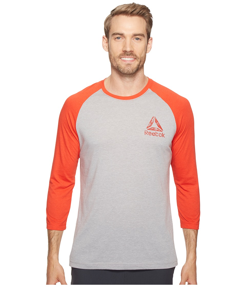 Reebok - Delta Baseball Tee (Medium Grey Heather/Riot Red) Men's T Shirt