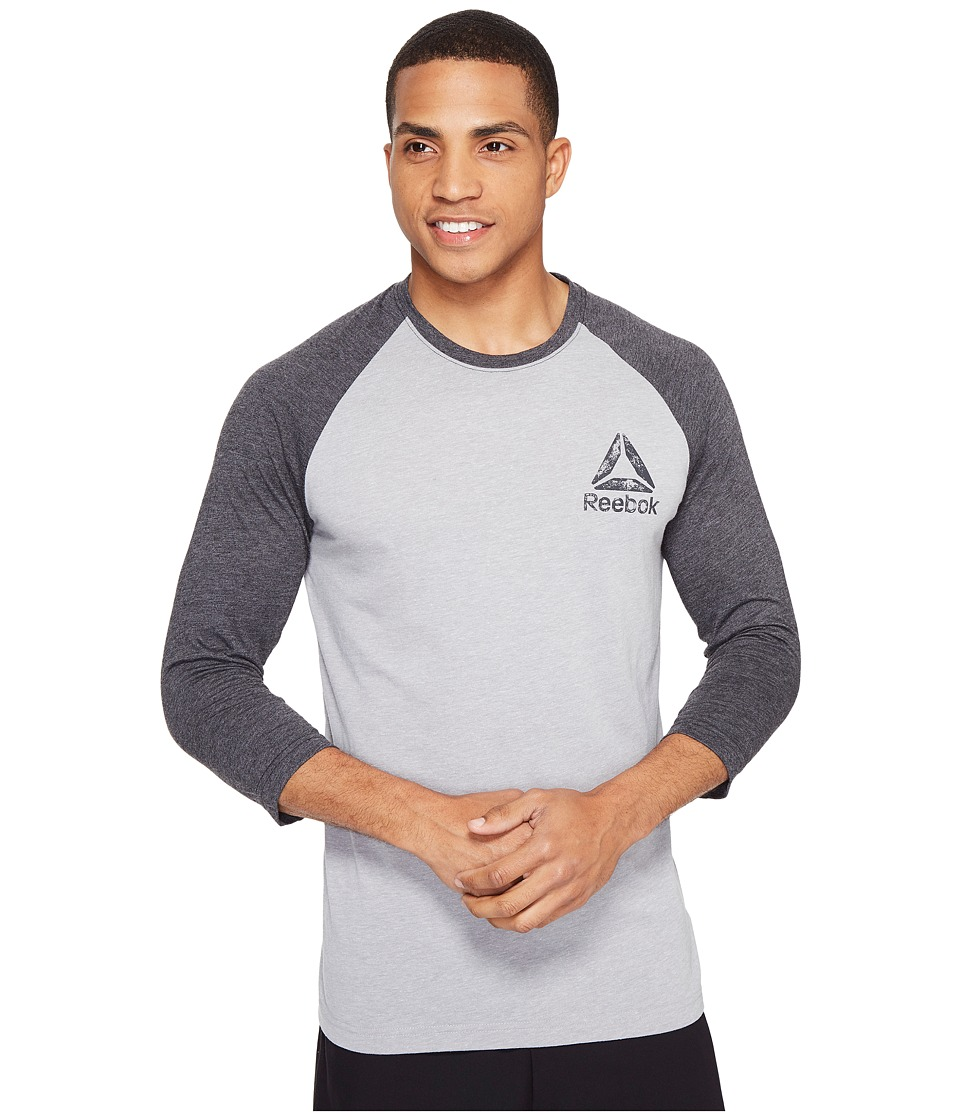 Reebok - Delta Baseball Tee (Medium Grey Heather/Black) Men's T Shirt