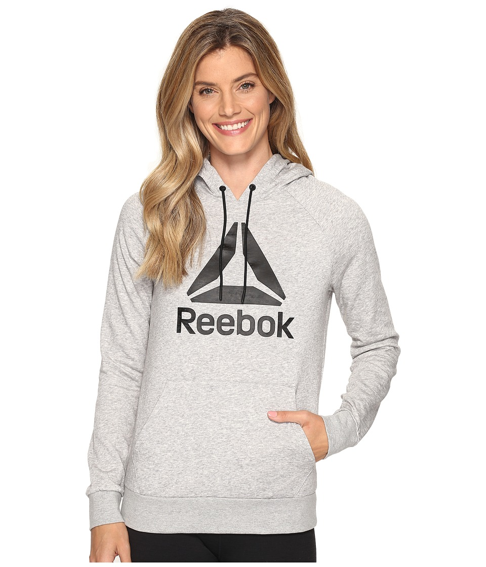 Reebok - Workout Ready Big Stacked Logo Over The Head (Medium Grey Heather) Women's Clothing