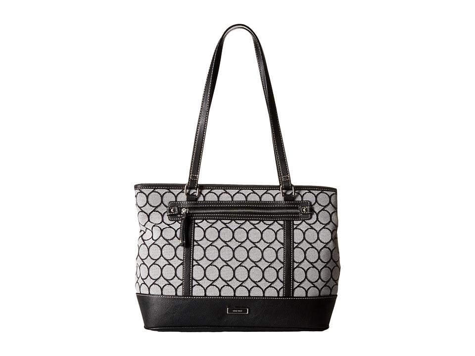Nine West - 9S Jacquard Tote (Black/White) Tote Handbags