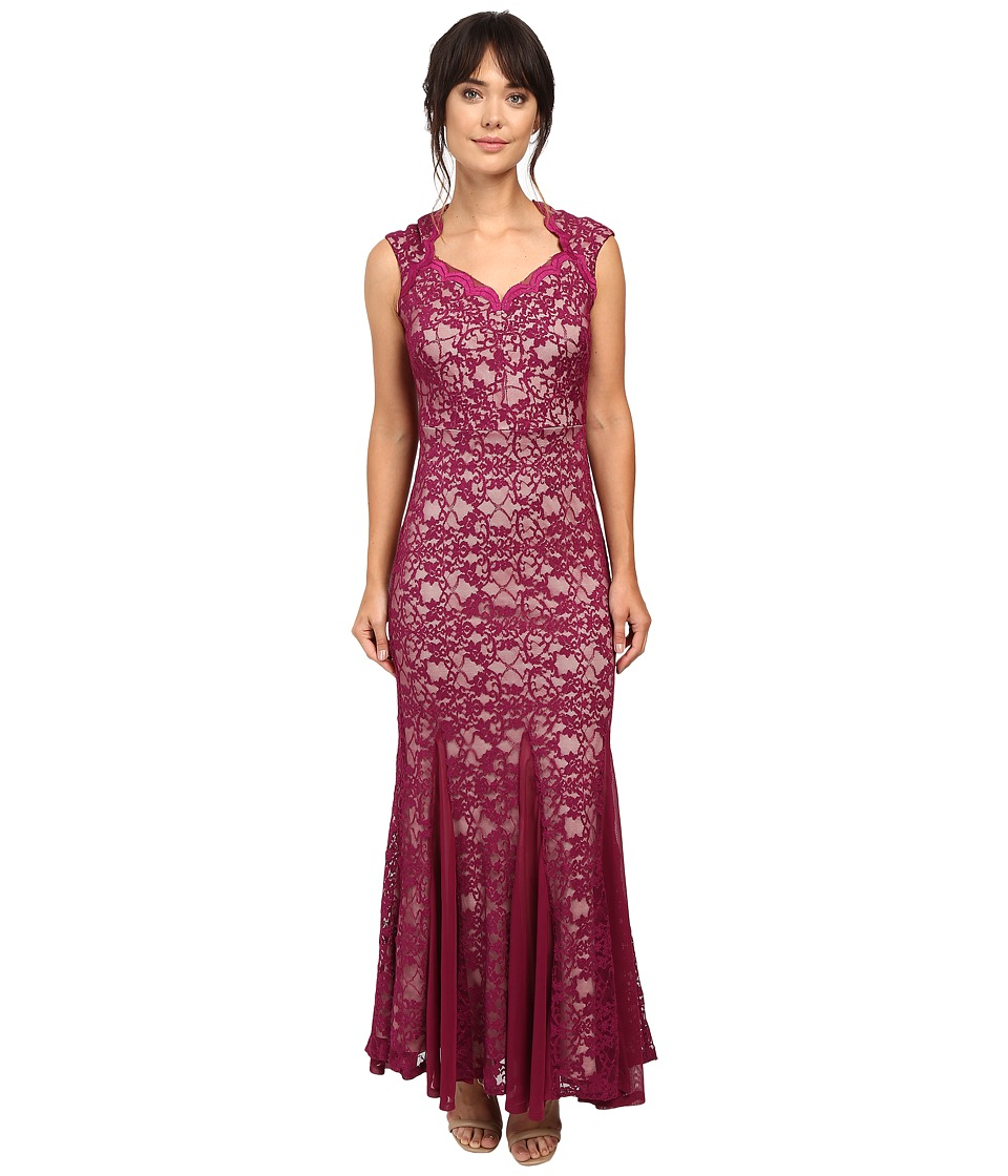 Sangria - Cap Sleeve All Over Lavc Gown Dress (Mulberry/Nude) Women's Dress