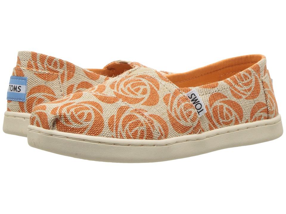 TOMS Kids Seasonal Classics (Little Kid/Big Kid) (EMC Orange Rose Burlap) Girls Shoes
