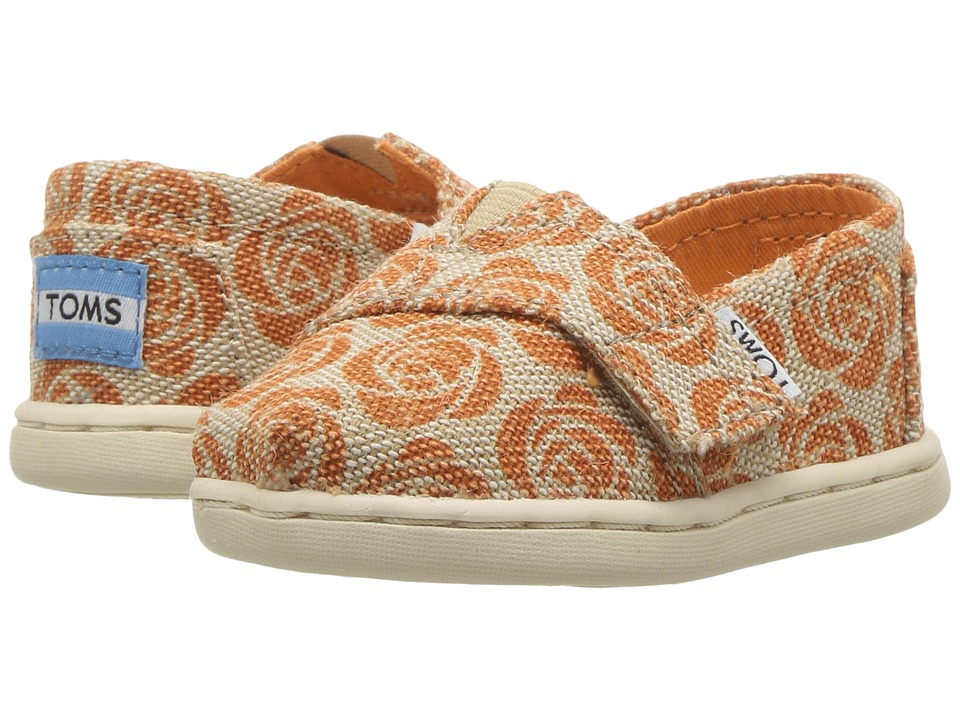 TOMS Kids - Seasonal Classics (Infant/Toddler/Little Kid) (EMC Orange Rose Burlap) Girls Shoes