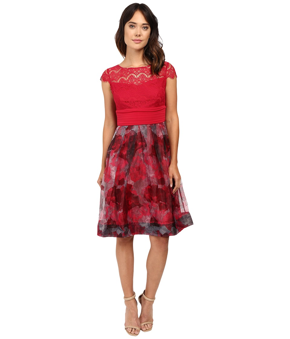 Sangria - Cap Sleeve Lace Bodice Knee Length Fit and Flare Dress (Red Bud) Women's Dress