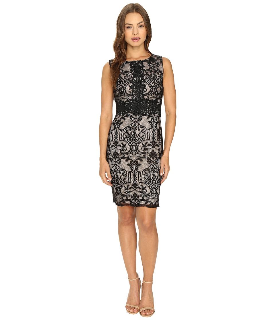 Sangria - Sleeveless Textured Lace Sheath Dress (Black/Putty) Women's Dress
