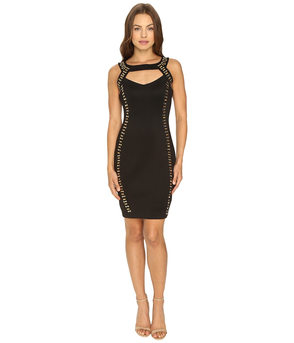 Sangria - Haltered Keyhole Neckline Embellished Sheath Dress (Black) Women's Dress