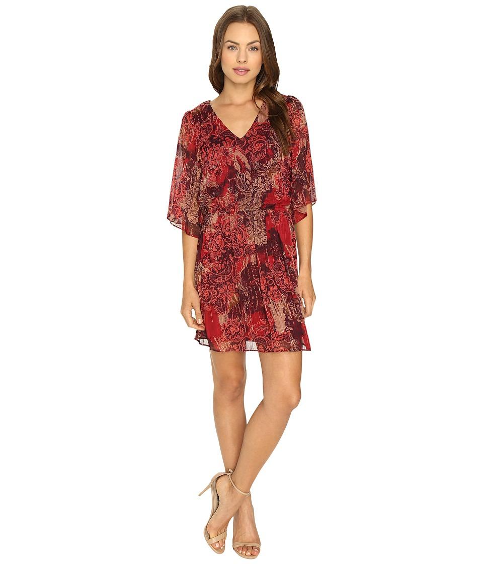 Sangria - Patterned Chiffon Peasant Dress (Multi) Women's Dress