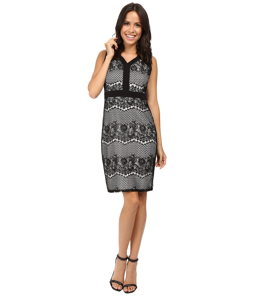 Sangria - Sleeveless V-Neck Textured Lace Sheath Dress (Black/White) Women's Dress