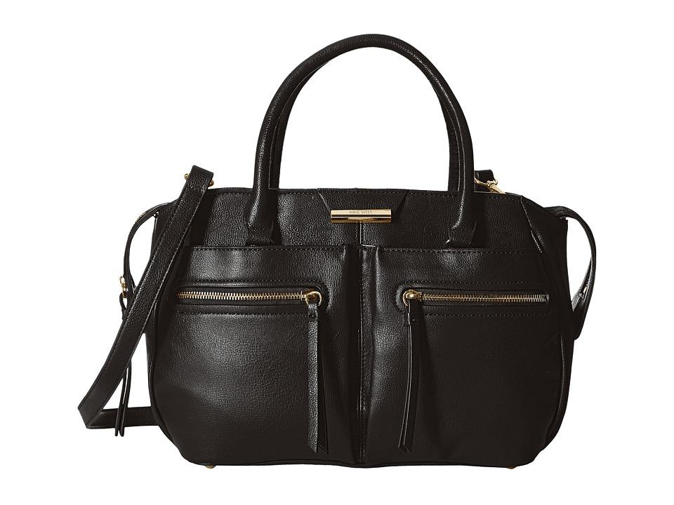Nine West - Just Zip It Medium Satchel (Black) Satchel Handbags