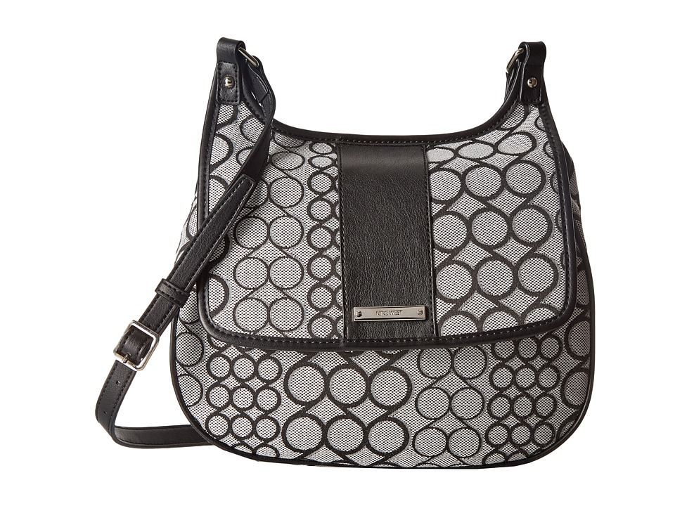 Nine West - Split The Difference Saddle Bag (Black/White) Handbags