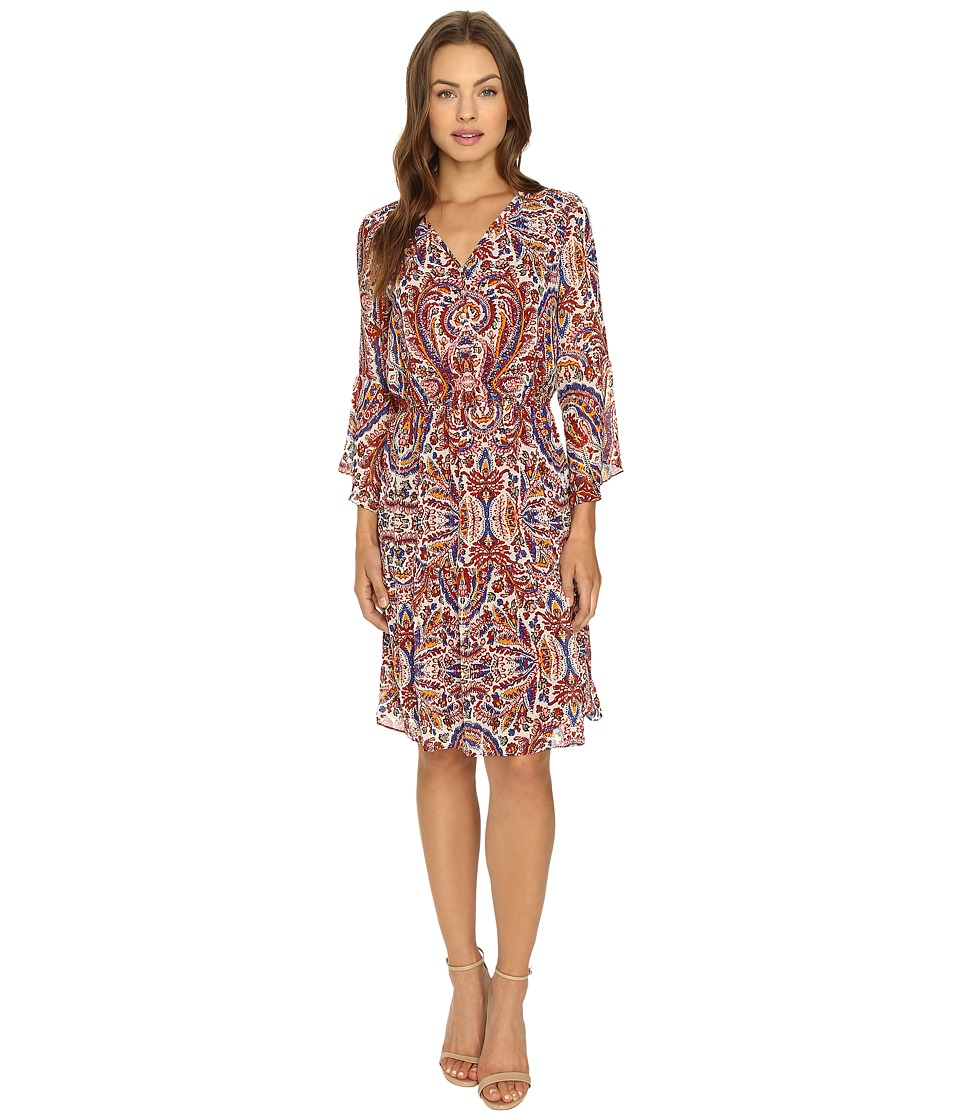 Sangria - Patterned Chiffon Peasant Dress (Multi) Women's Dress