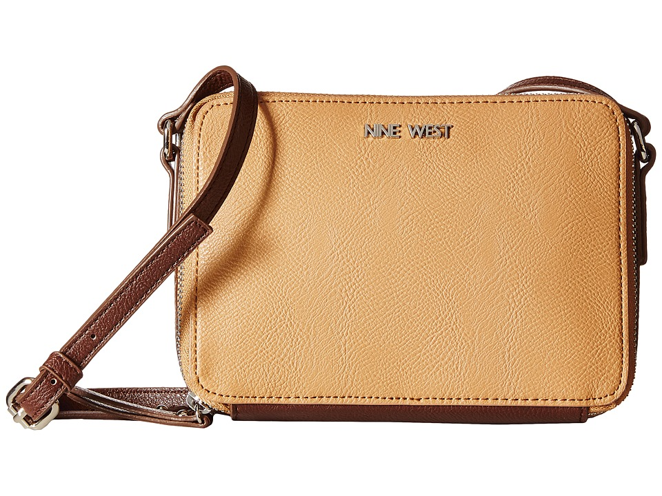 Nine West - Blecker Double Zip Crossbody (Dark Camel/Hot Chocolate) Cross Body Handbags