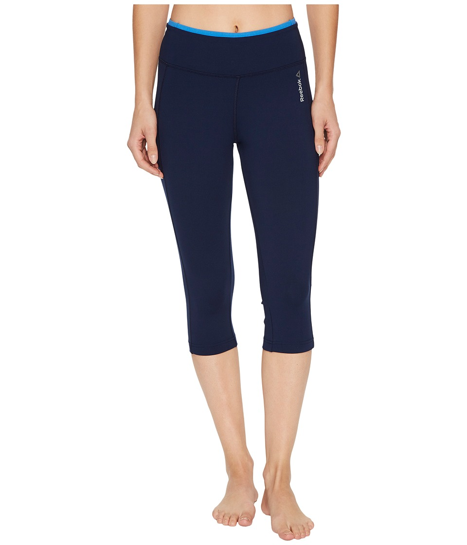 Reebok Workout Ready Pant Program Capris (Collegiate Navy/Echo Blue) Women