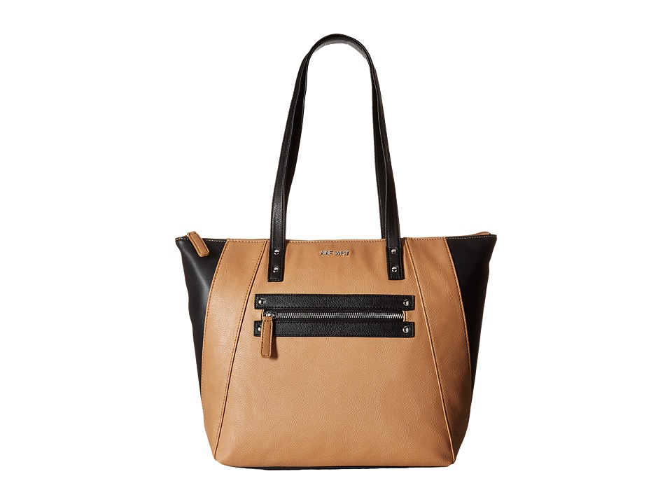 Nine West - Color Tint Tote (Dark Camel/Black/Black) Tote Handbags