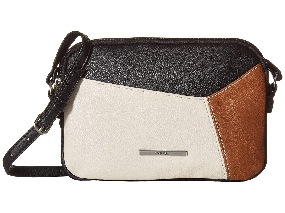 Nine West - Smooth Blocking Double Zip Crossbody (Black/Milk/Tobacco/Black) Cross Body Handbags