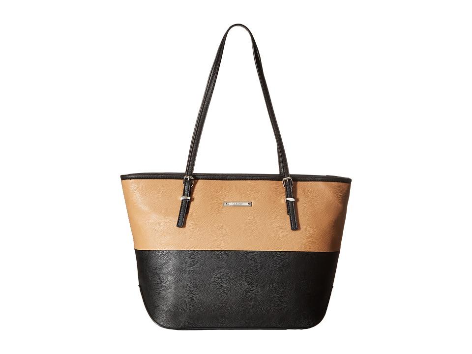 Nine West - Society Girl Tote (Dark Camel/Black) Tote Handbags
