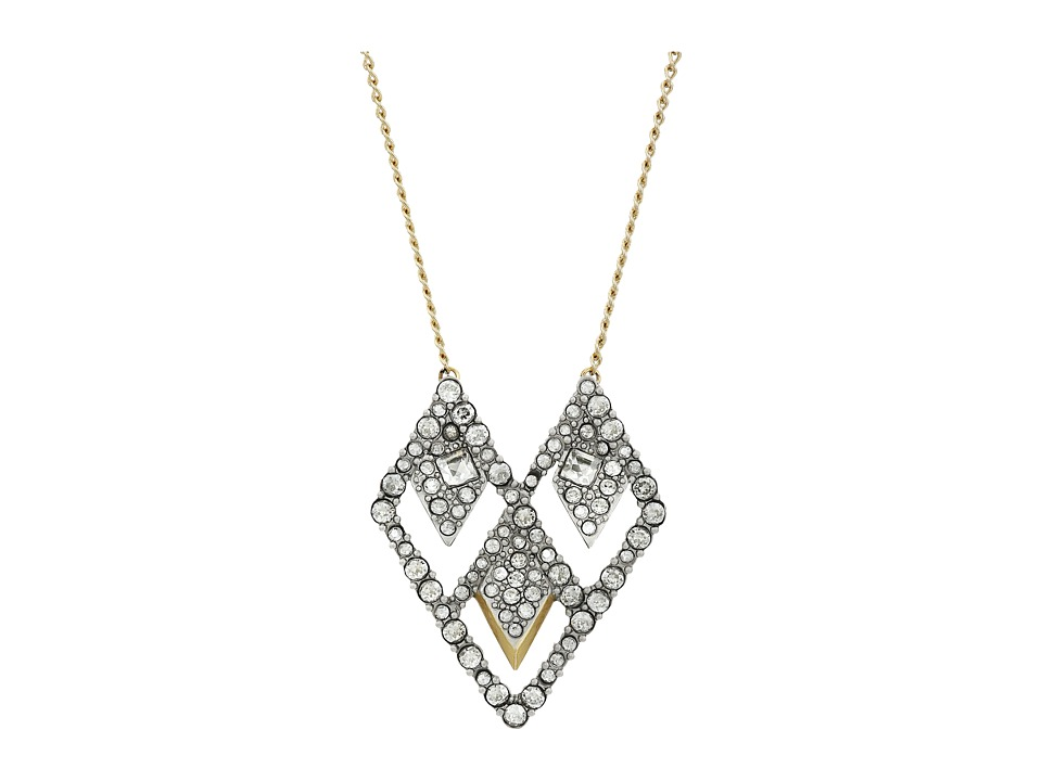 Alexis Bittar - Crystal Encrusted Spiked Lattice Pendant (Matte Rhodium w/ Matte 10k Gold) Necklace