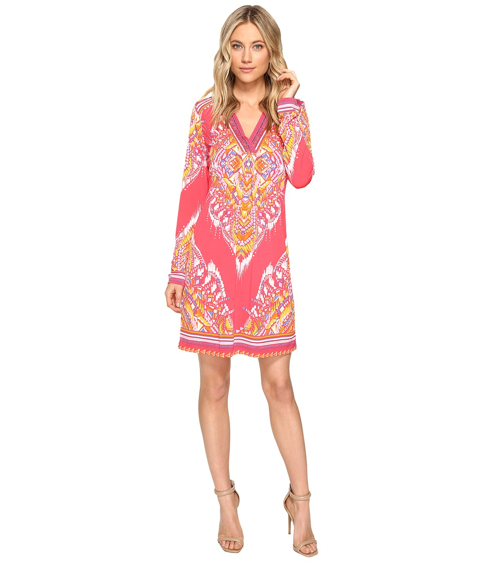 Hale Bob - The Sweetspot Matt Microfiber Jersey Dress with Beads (Coral) Women's Dress