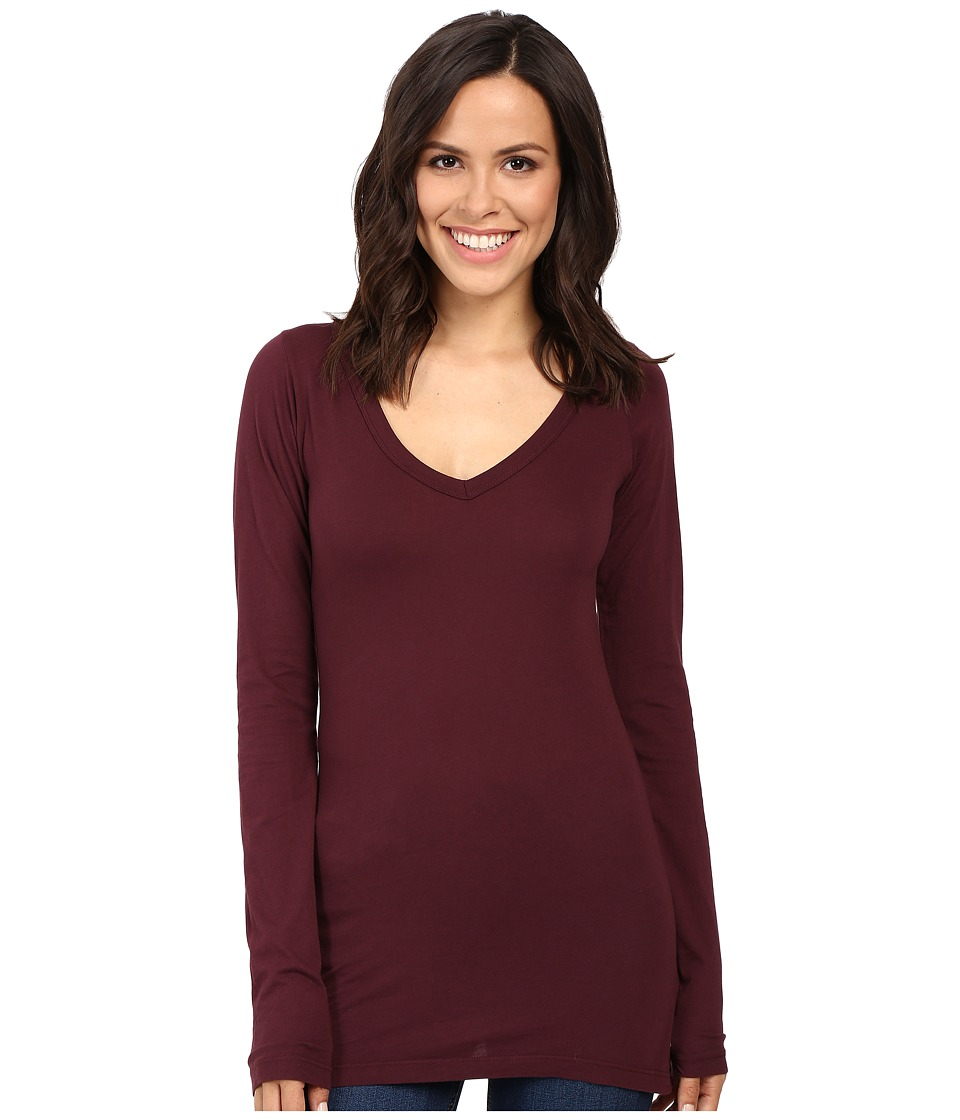 LAmade - Fitted V-Neck Tee (Acai) Women's Long Sleeve Pullover