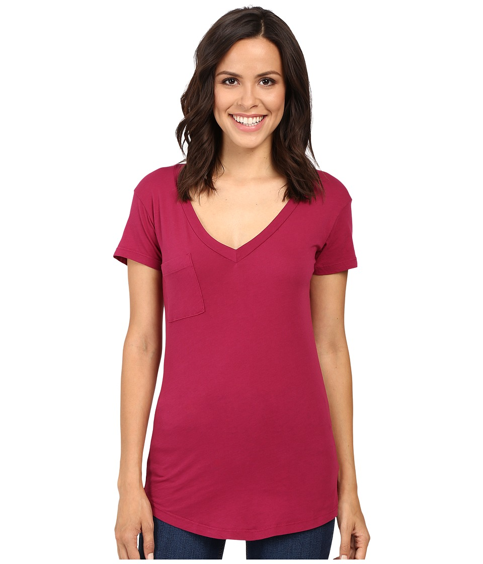 LAmade - V-Pocket Tee - Tissue Jersey (Hot Berry) Women's Short Sleeve Pullover