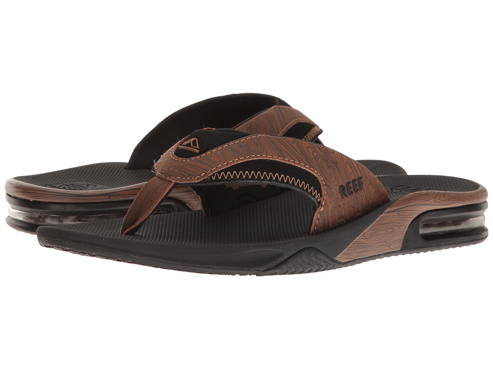 Reef - Fanning Prints (Black/Wood 2) Men's Sandals