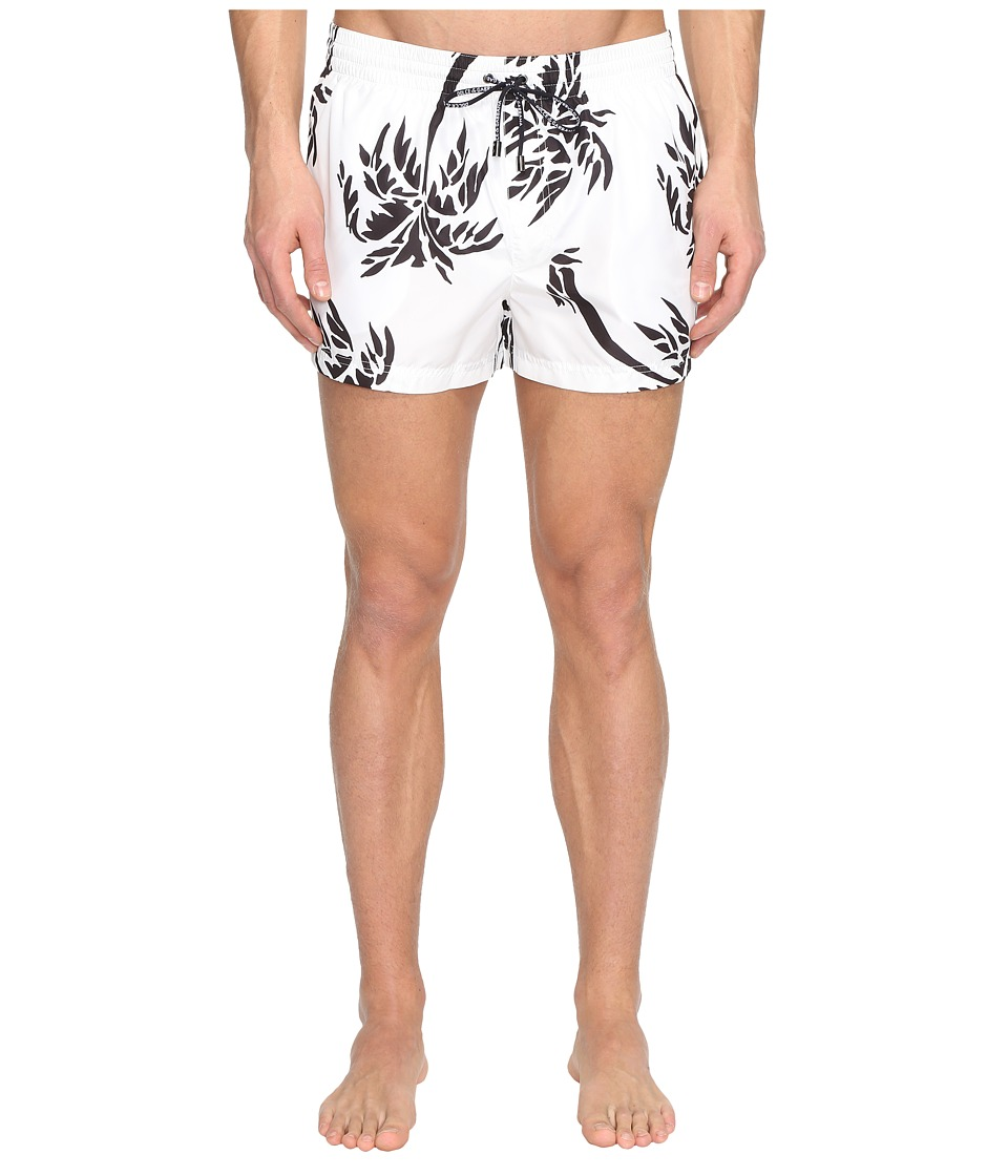 Dolce & Gabbana - Palm Tree Swim Trunks (White) Men's Swimwear