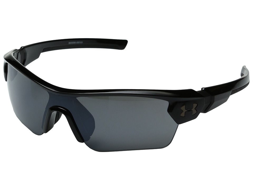 Under Armour - Menace (Little Kid/Big Kid) (Shiny Black/Black Frame/Gray Multiflection Lens) Athletic Performance Sport Sunglasses
