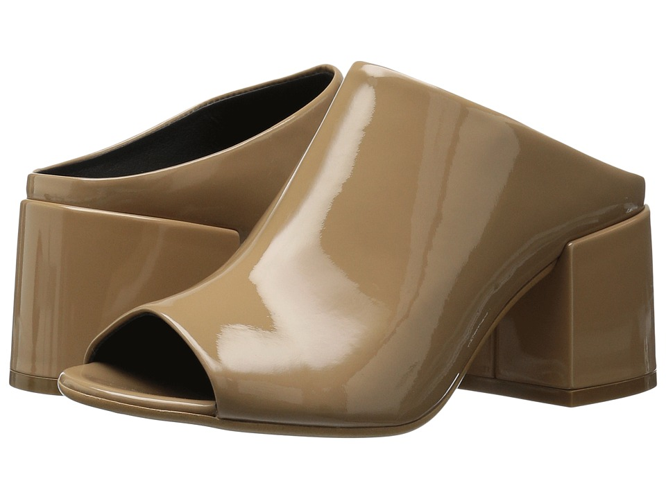 MM6 Maison Margiela - Mid Heel Mule (Beige Patent Leather) Women's Shoes