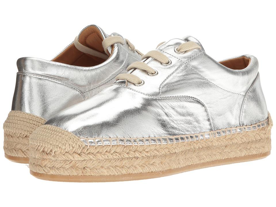 MM6 Maison Margiela - Metallic Platform Espadrille (Silver Laminated Leather) Women's Flat Shoes