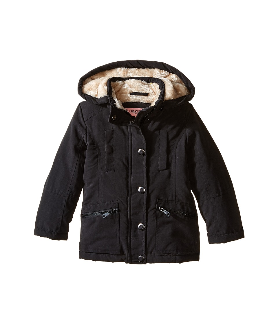 Urban Republic Kids - Peach Finish Microfiber Jacket (Toddler) (Black) Girl's Coat