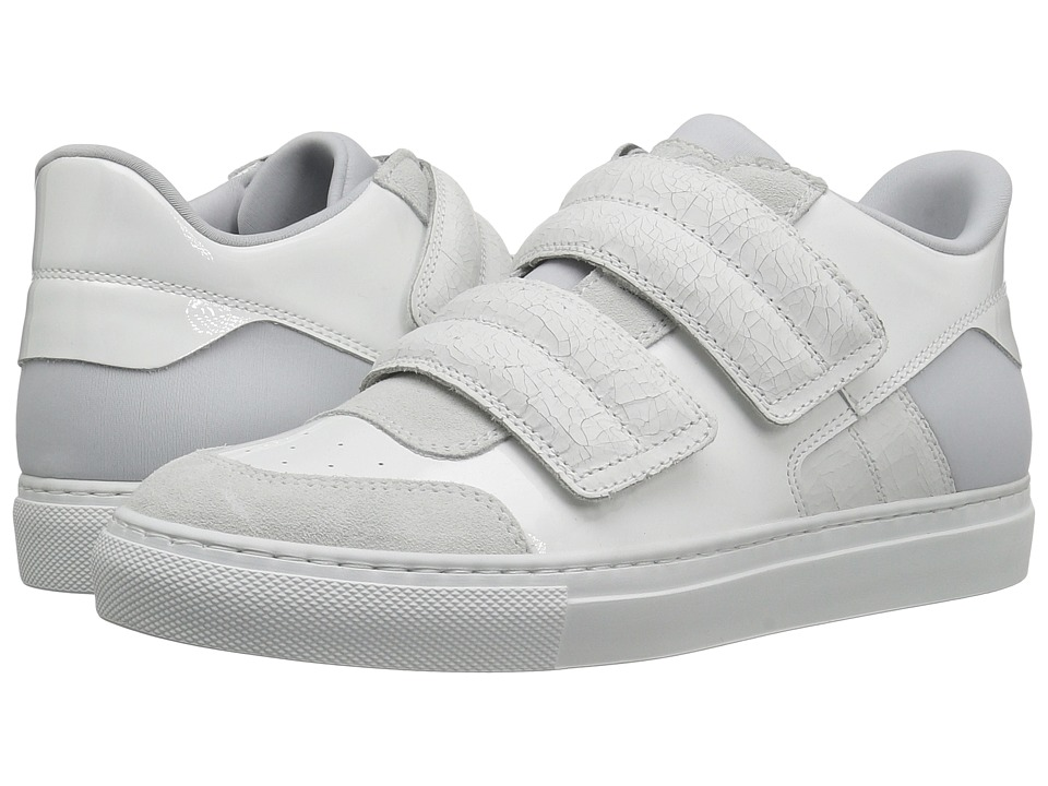 MM6 Maison Margiela - Classic Low Hook and Loop Sneaker (White Leather) Women's Shoes