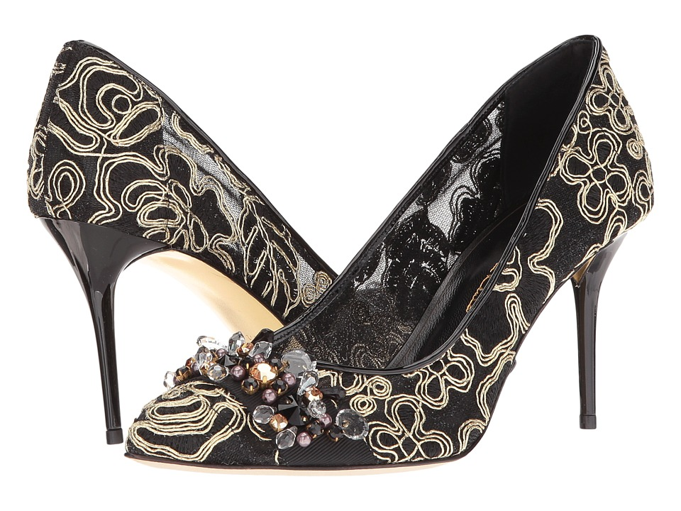 Oscar de la Renta Jacky 85MM (Black Embroidered Mesh/Gold Embroidery) Women