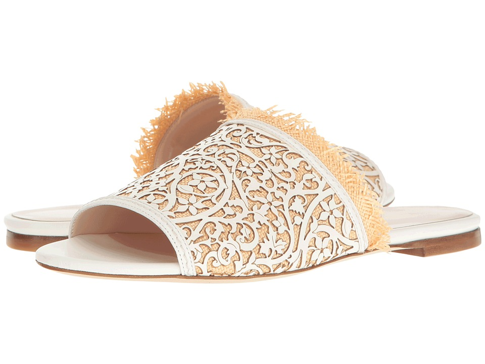 Oscar de la Renta Charli (White Lasercut Leather/Beige Raffia) Women