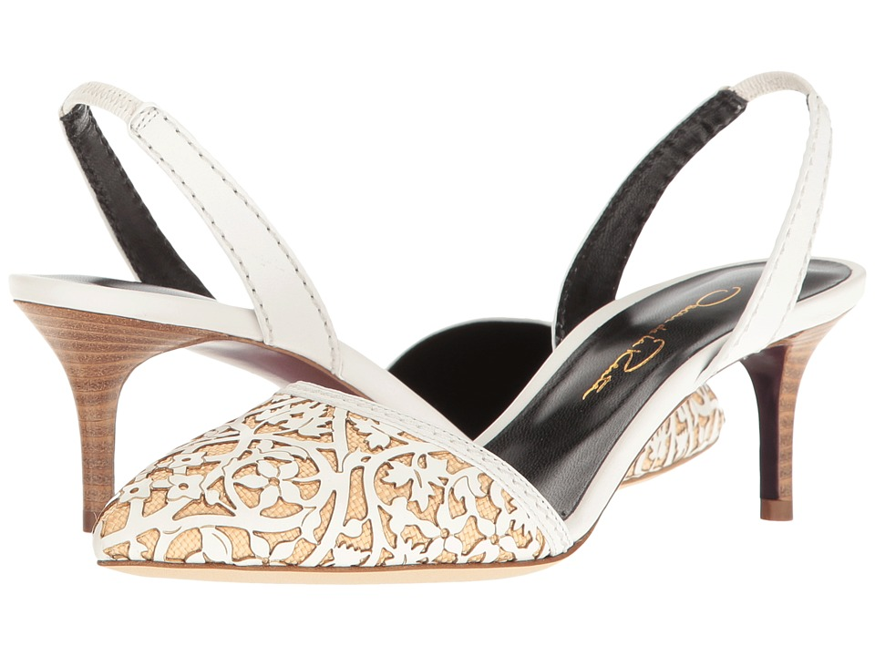 Oscar de la Renta Rachel 55MM (White Lasercut Leather/Beige Raffia) Women