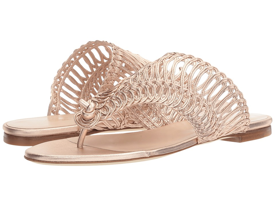 Oscar de la Renta Cindy (Rose Gold Metallic Macramed Nappa) Women