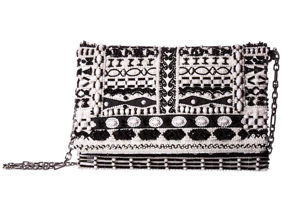 Oscar de la Renta - Petite Evening (Black/White Embroidered Satin) Handbags