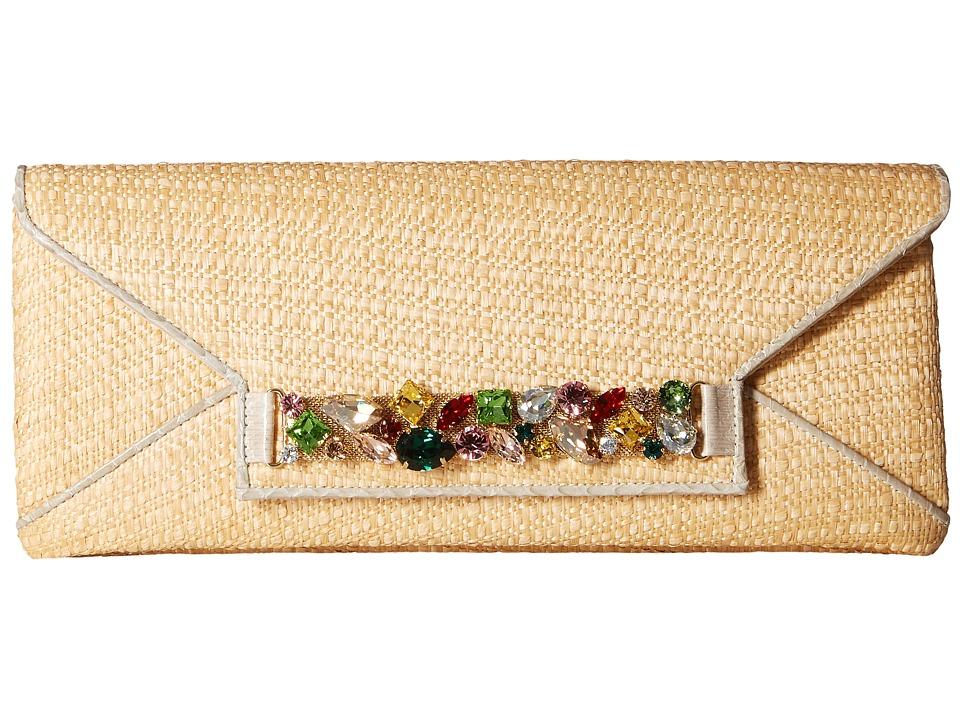 Oscar de la Renta Envelope Clutch (Natural Raffia) Clutch Handbags