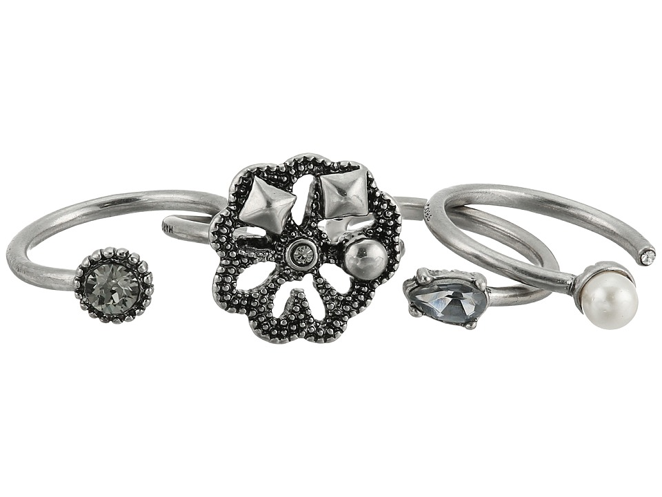 Marc Jacobs - Daisy Midi Ring Set (Crystal/Antique Silver) Ring