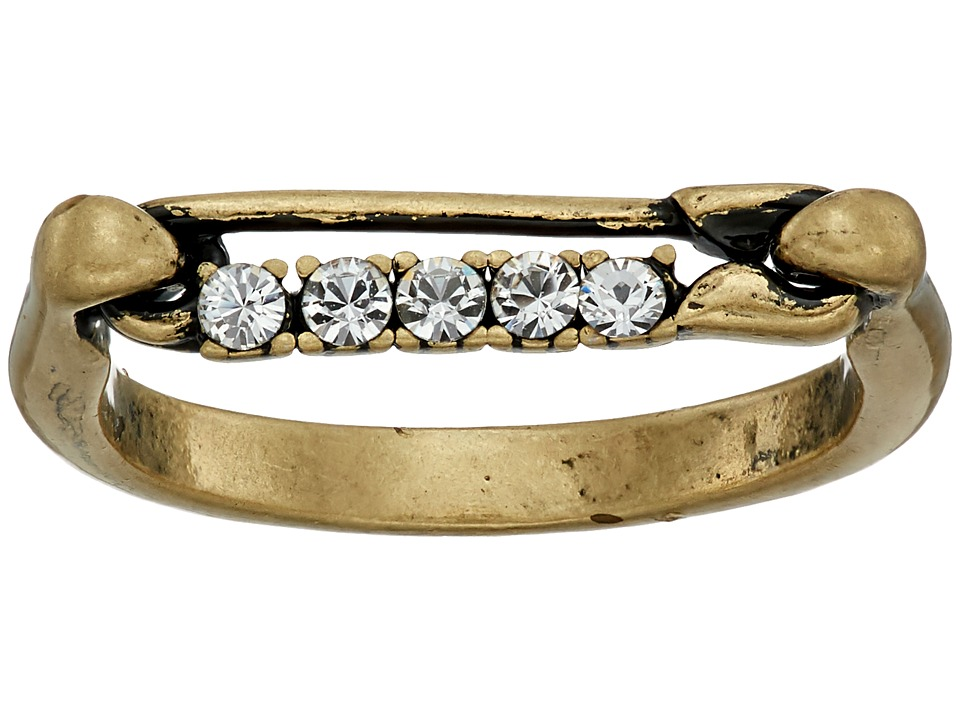 Marc Jacobs - Safety Pin Strass Ring (Crystal/Antique Gold) Ring