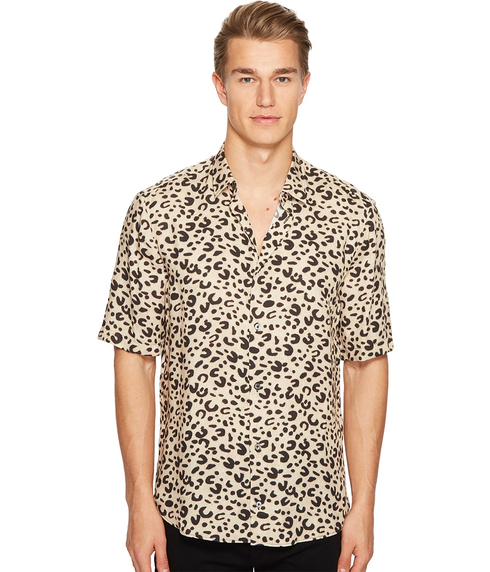 McQ - Short Sleeve Leopard Sheehan Shirt (Leopard) Men's Clothing