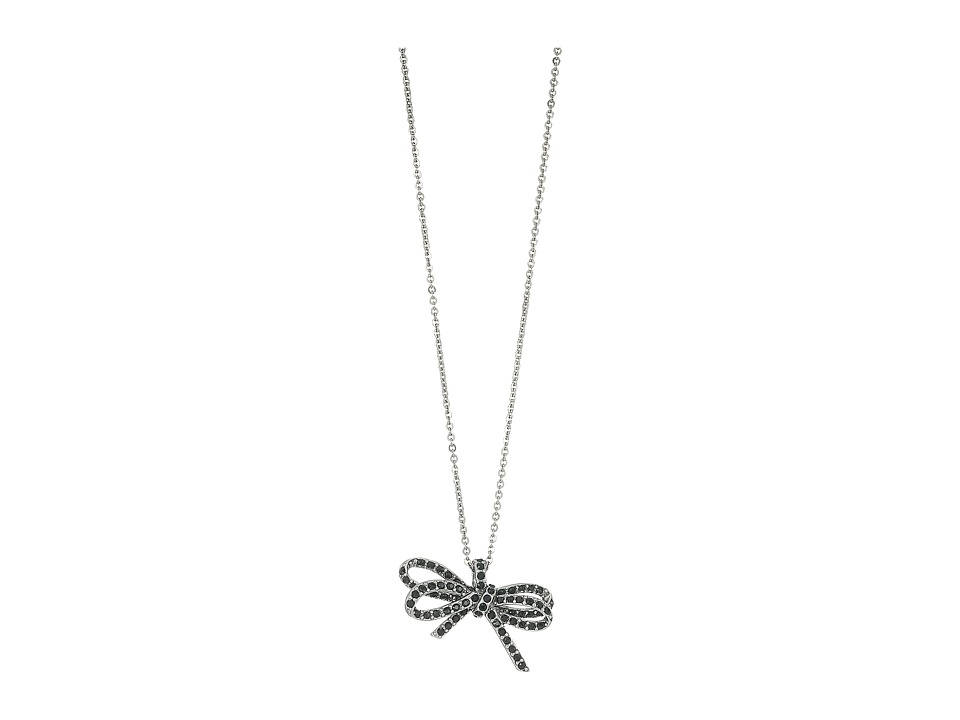 Marc Jacobs - Bow Pave Twisted Pendant Necklace (Black/Antique Silver) Necklace